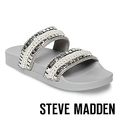 STEVE MADDEN-DAINTY 金屬水鑽珍珠二字帶厚底拖-灰色