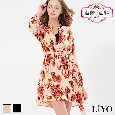 LIYO理優MIT浪漫印花洋裝(卡其,黑)