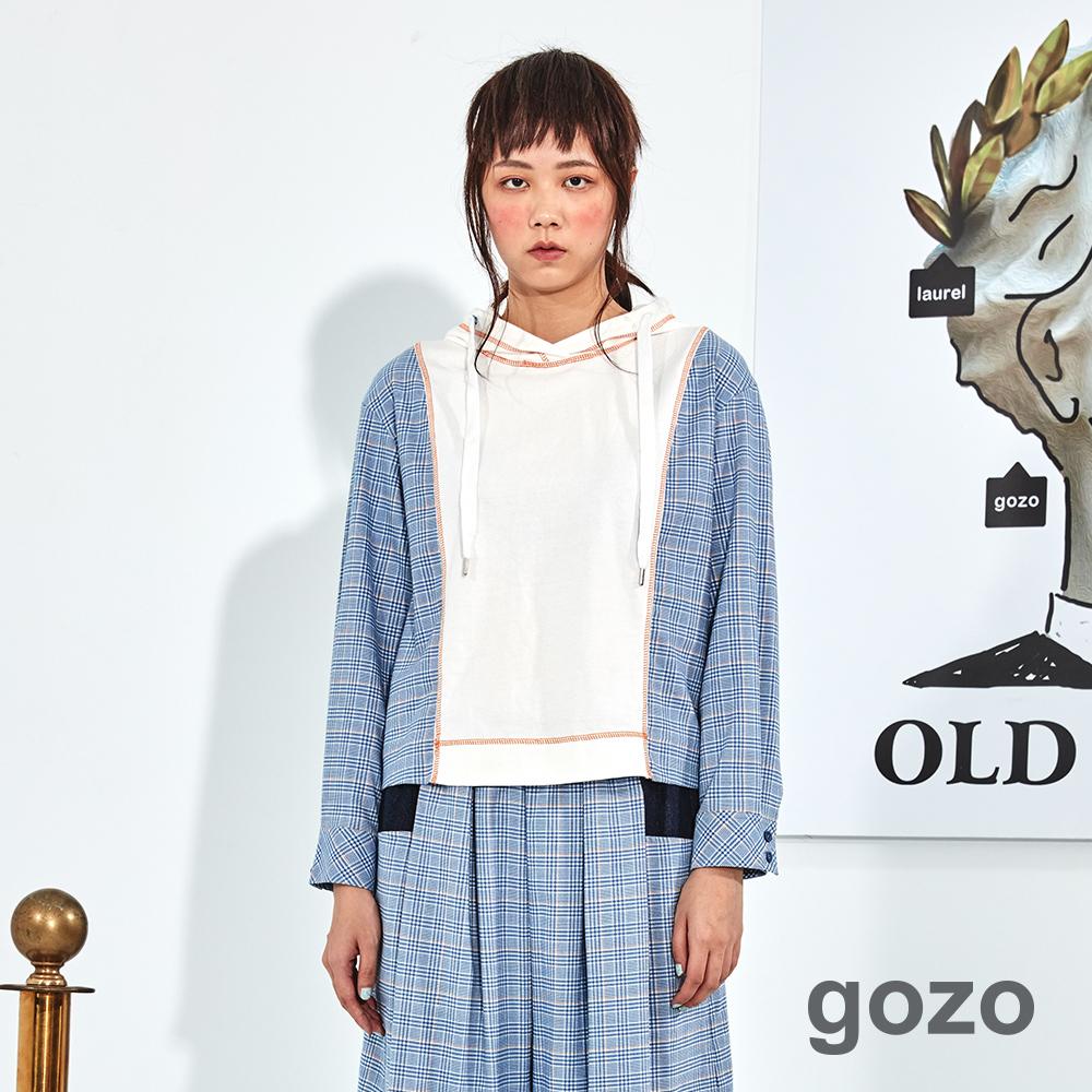 gozo 配色細格拼接壓線造型上衣(二色)