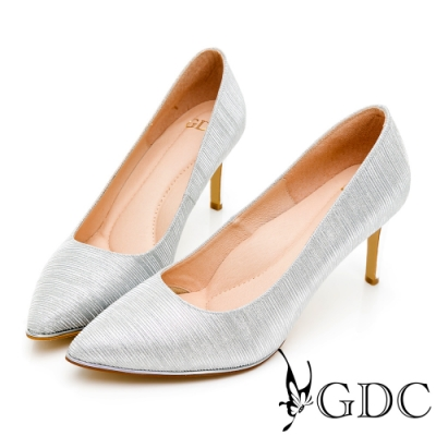 GDC-魅惑登場閃炫金料尖頭高跟鞋-銀色