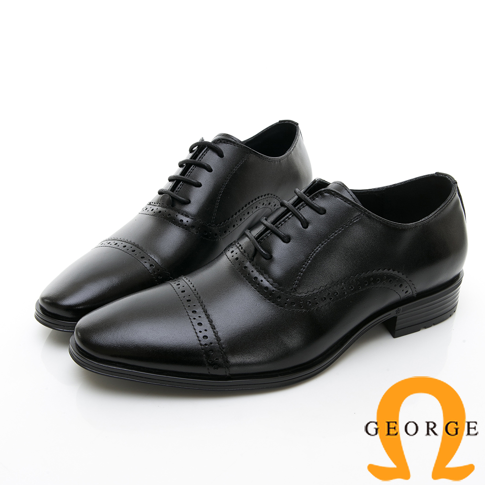 【GEORGE 喬治皮鞋】尊爵系列 拼接雕花綁帶紳士鞋皮鞋-黑色