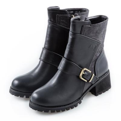 Camille's 韓國空運-皮帶釦環拼接拉鍊短靴-黑色