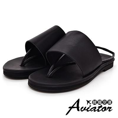 Aviator韓國空運-正韓製柔軟皮革時尚兩穿夾腳涼拖鞋-黑