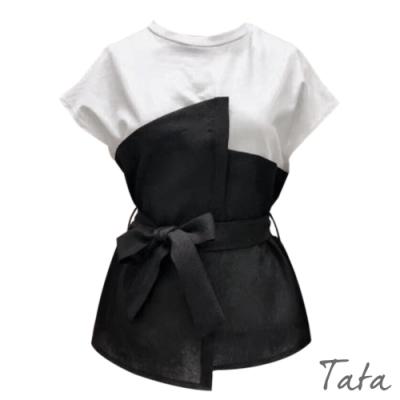 不對稱拼接綁帶上衣 TATA-F