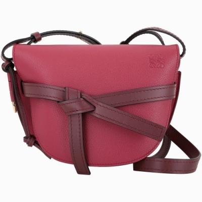 LOEWE Gate 粒面小牛皮馬鞍型肩背包(小款/莓紅色)