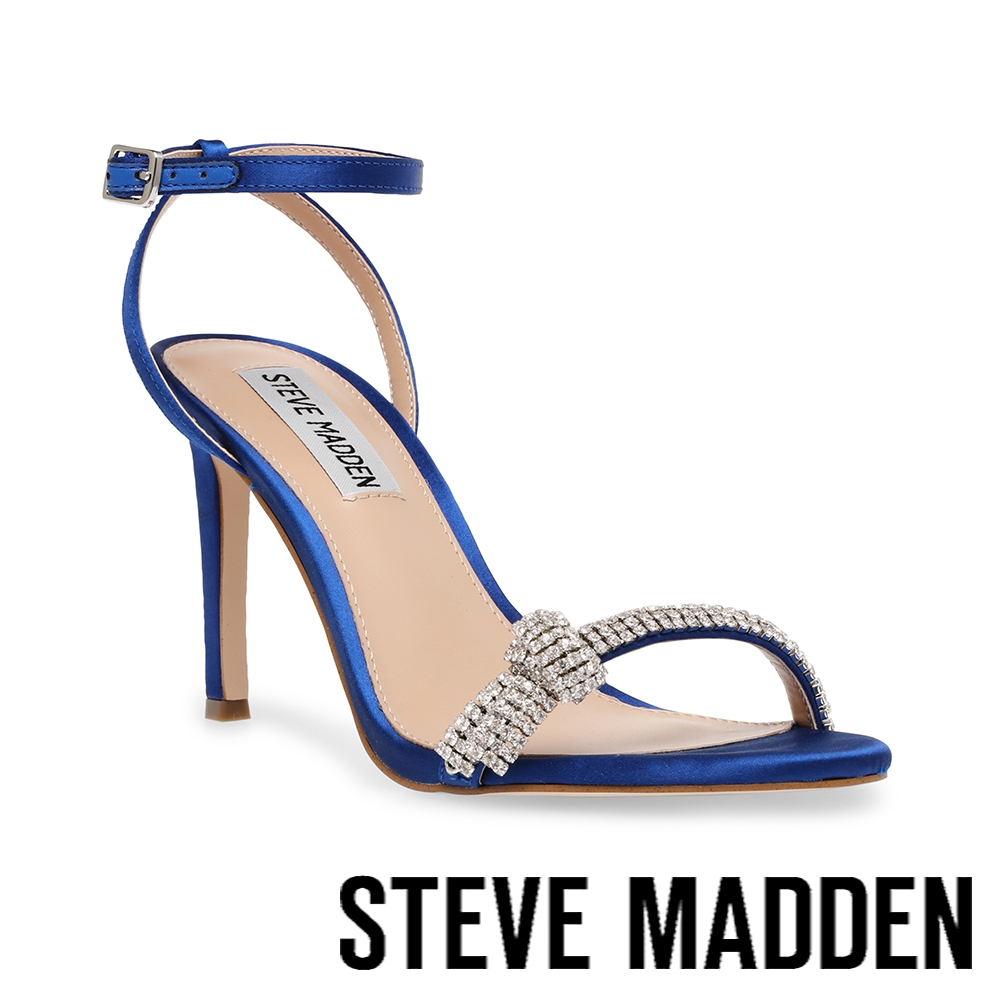 STEVE MADDEN-JULES 水鑽細帶繞踝高跟涼鞋-雅典藍