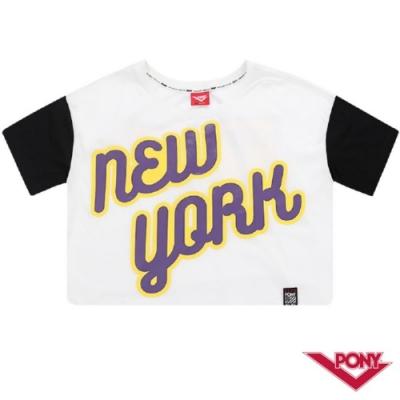 【PONY】NEW YORK風格短袖T恤-女-白