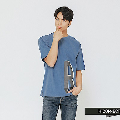H:CONNECT 韓國品牌 男裝-率性側印字T-shirt-藍