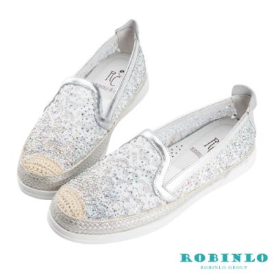 Robinlo 小清新浪漫鑲鑽蕾絲草編休閒鞋 銀色