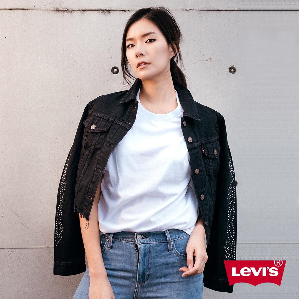 Levis 女款 短袖T恤 BOXY 方正大寬袖 中短版 Serif Logo 白