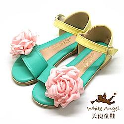 天使童鞋 微光亮麗花緹涼鞋 J848-10 綠