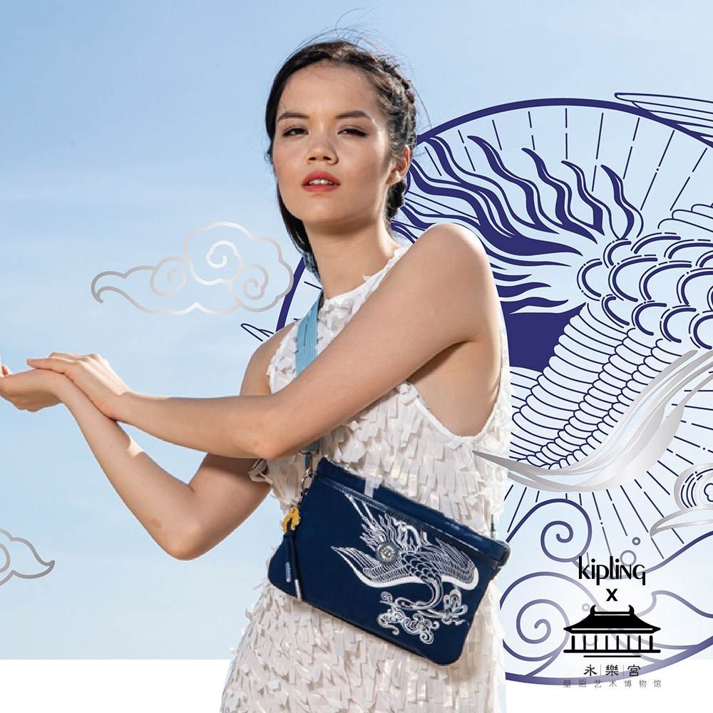 Kipling X 永樂宮聯名系列深藍底雲間盛境單肩隨身斜背包-RIRI
