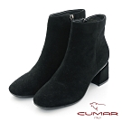 【CUMAR】中性之美簡約方頭金屬裝飾粗跟短靴-黑