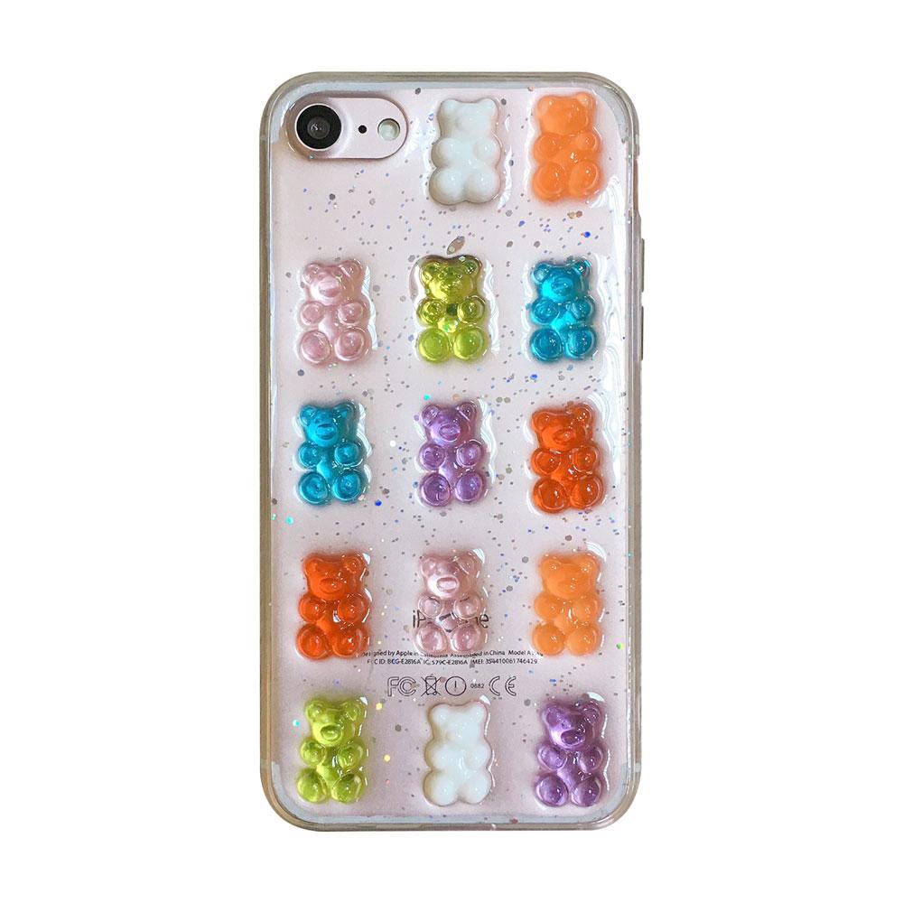 【TOYSELECT】iPhone 7/8 Plus 彩色熊熊軟糖全包手機殼