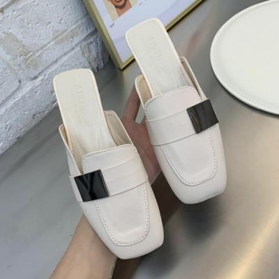 KEITH-WILL時尚鞋館 百搭簡約時尚淑女穆勒鞋-白