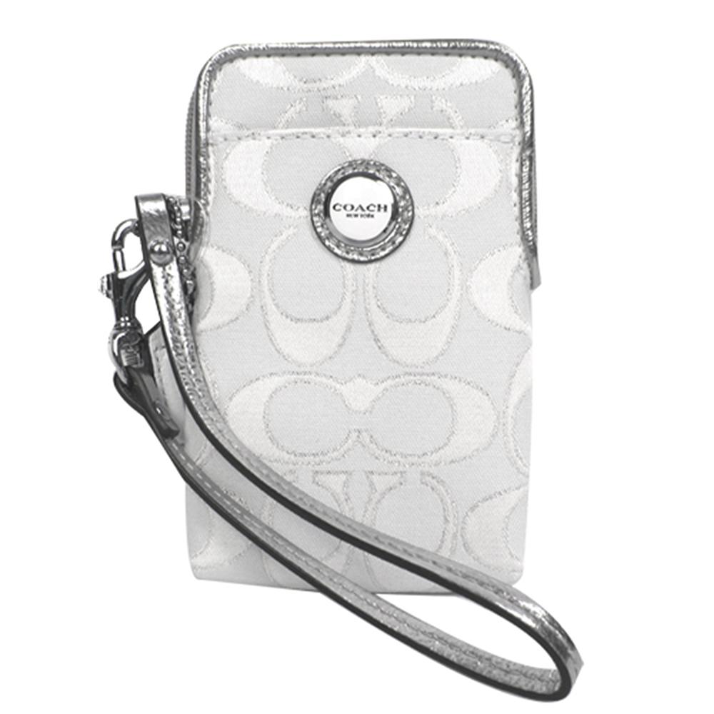COACH  圓釦LOGO雙色織布萬用袋(白銀)