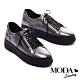 休閒鞋 MODA Luxury 硬朗個性派側拉鍊設計厚底綁帶休閒鞋-古銅 product thumbnail 1