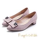 Pineapple Outfitter 復古女伶 羊皮方扣鑽飾尖頭粗跟鞋-粉色