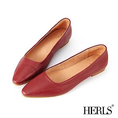 HERLS 法式優雅 柔軟全真皮縫線尖頭平底鞋-酒紅