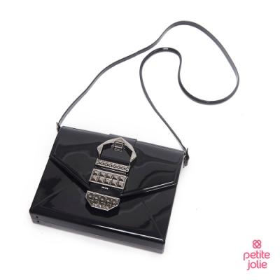 Petite Jolie--復古金屬扣飾果凍信封包-黑色