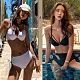 性感深V高腰顯瘦兩件式比基尼泳裝性感泳衣 黑/白 M-XL product thumbnail 1