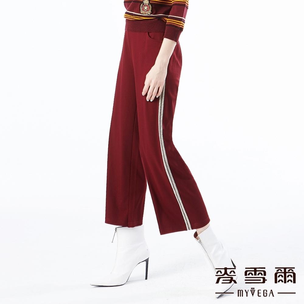 【麥雪爾】棉質閃亮條紋彈性腰身九分寬褲-暗紅