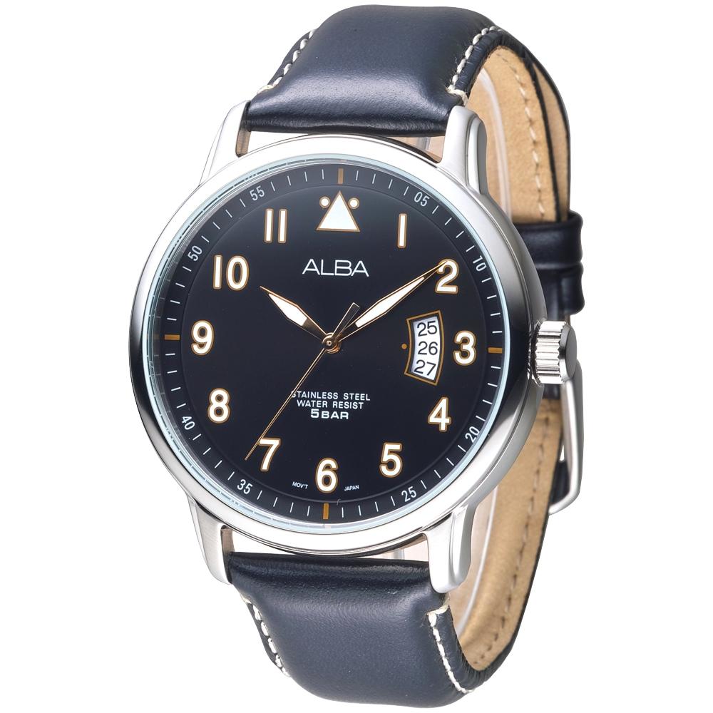 ALBA雅柏手錶 簡約時尚彎月日期造型男錶-黑(AS9B29X1)/44mm 保固二年