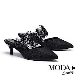 拖鞋 MODA Luxury 迷人雅緻蕾絲繫帶金蔥布尖頭穆勒高跟拖鞋-黑