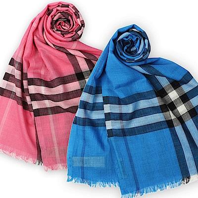 BURBERRY 經典格紋款羊毛絲綢圍巾 (多色)任選$ 9999