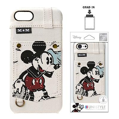 iPhone 8/7 迪士尼 皮革背蓋口袋 硬殼 4.7吋-牛仔白