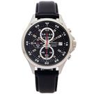 SEIKO 競速風格的計時皮革錶帶手錶(SKS635P1)-黑面X黑框/42mm