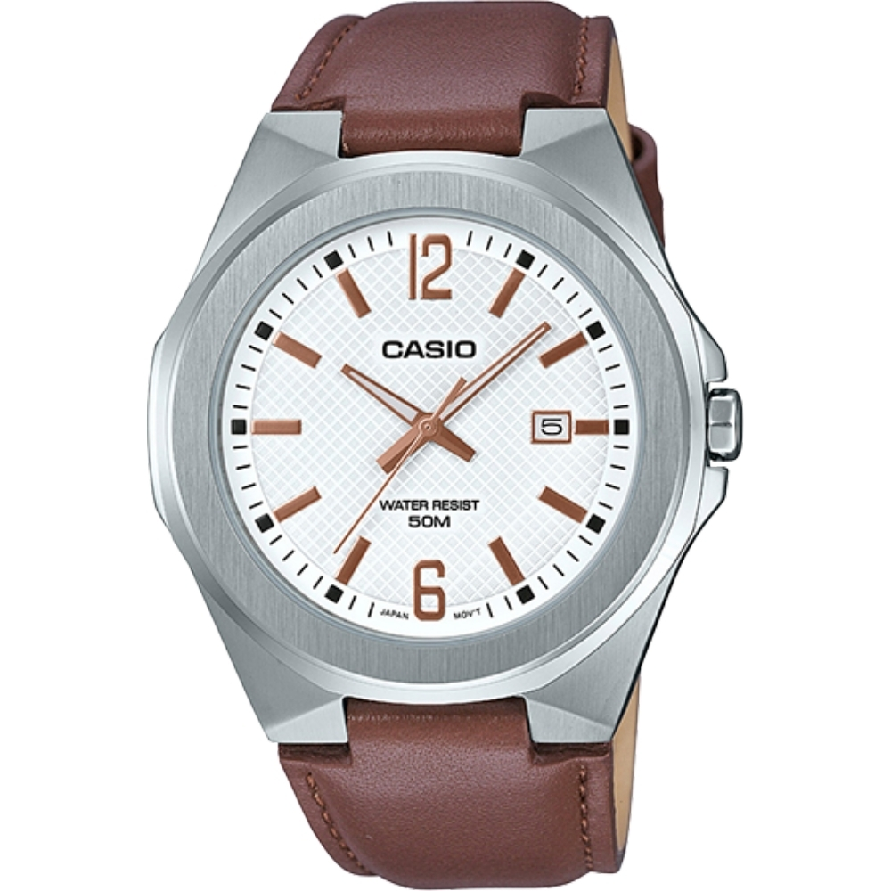 CASIO 立體造型錶殼時尚皮帶男錶(白)_MTP-E158L-7A/48.5mm