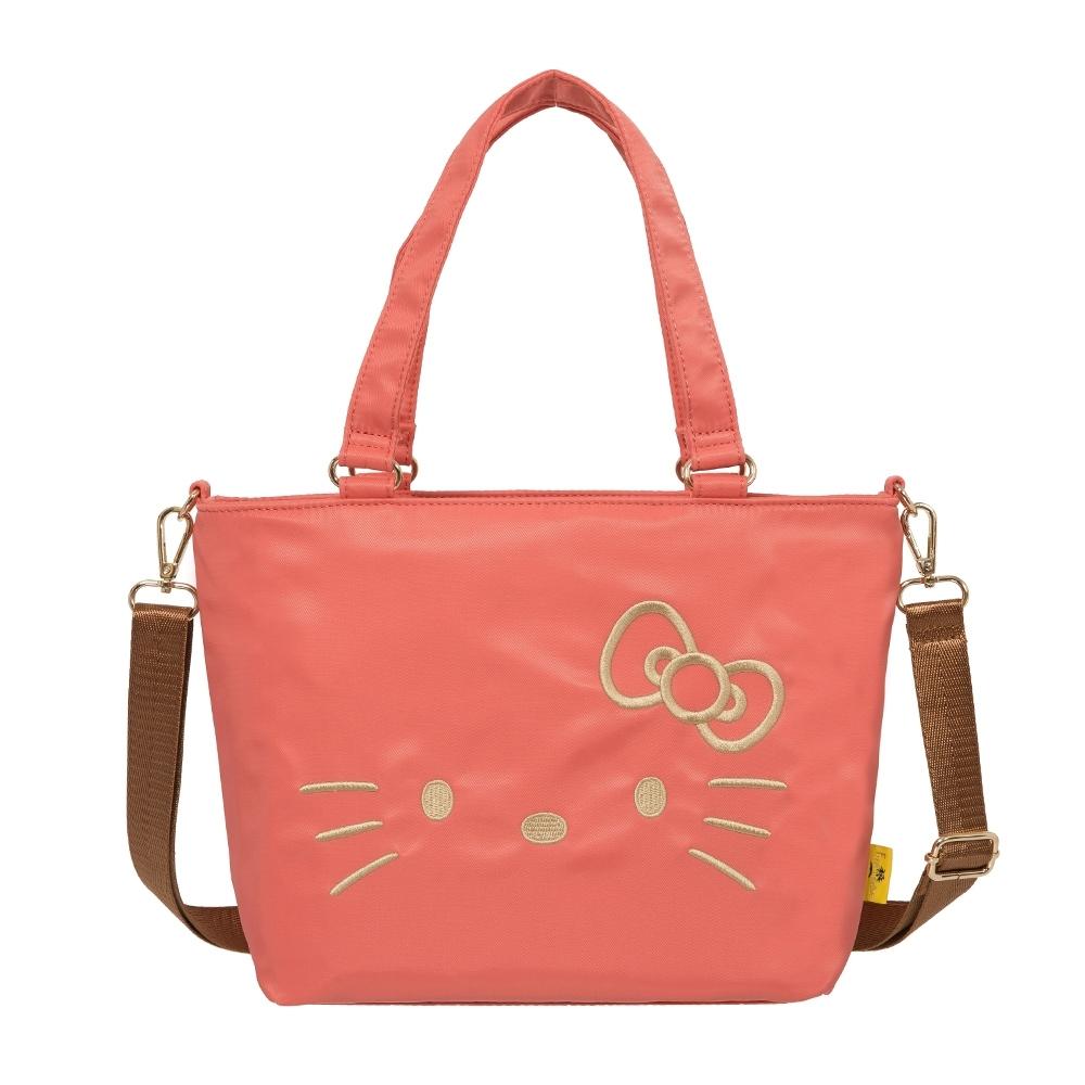 【Hello Kitty】經典凱蒂-兩用手提包-粉橘 FPKT0D002CR