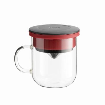 【PO:Selected】丹麥研磨過濾咖啡玻璃杯350ml 2.0 (黑+紅)
