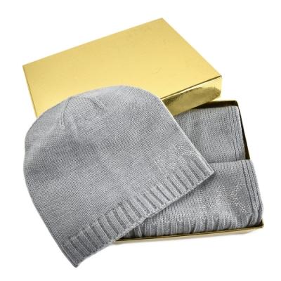 MICHAEL KORS 鉚釘LOGO圍巾/毛線帽禮盒組-灰色