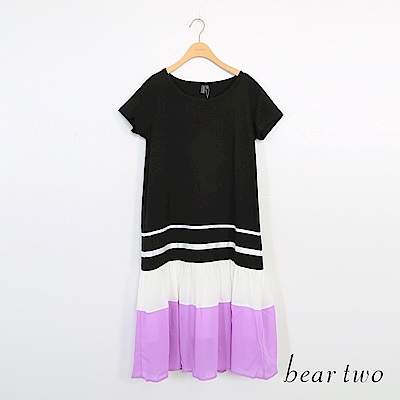 beartwo-剪接撞色下擺長洋裝-黑
