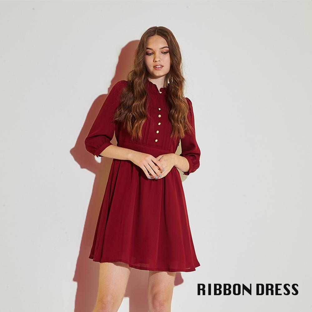 Ribbon 氣質小立領荷葉雪紡打褶七分袖造型洋裝-紅(共2色)