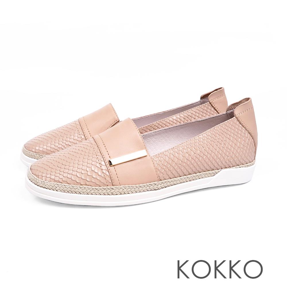 KOKKO - 極度舒適簡約草編懶人真皮休閒鞋 - 奶茶裸