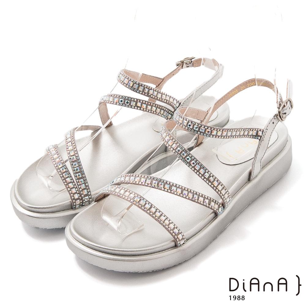 DIANA閃耀水鑽牛皮3.5公分細帶環踝圓頭厚底S勾繫帶涼鞋-極致閃耀-銀
