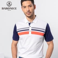 BARONECE 百諾禮士休閒商務  男裝  胸前印花絲光單面短袖POLO衫-藍色(1188277-38)