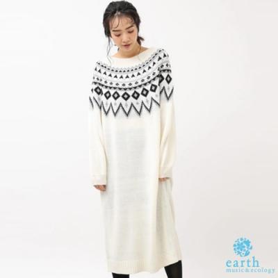 earth music 北歐風圖騰設計針織連身洋裝