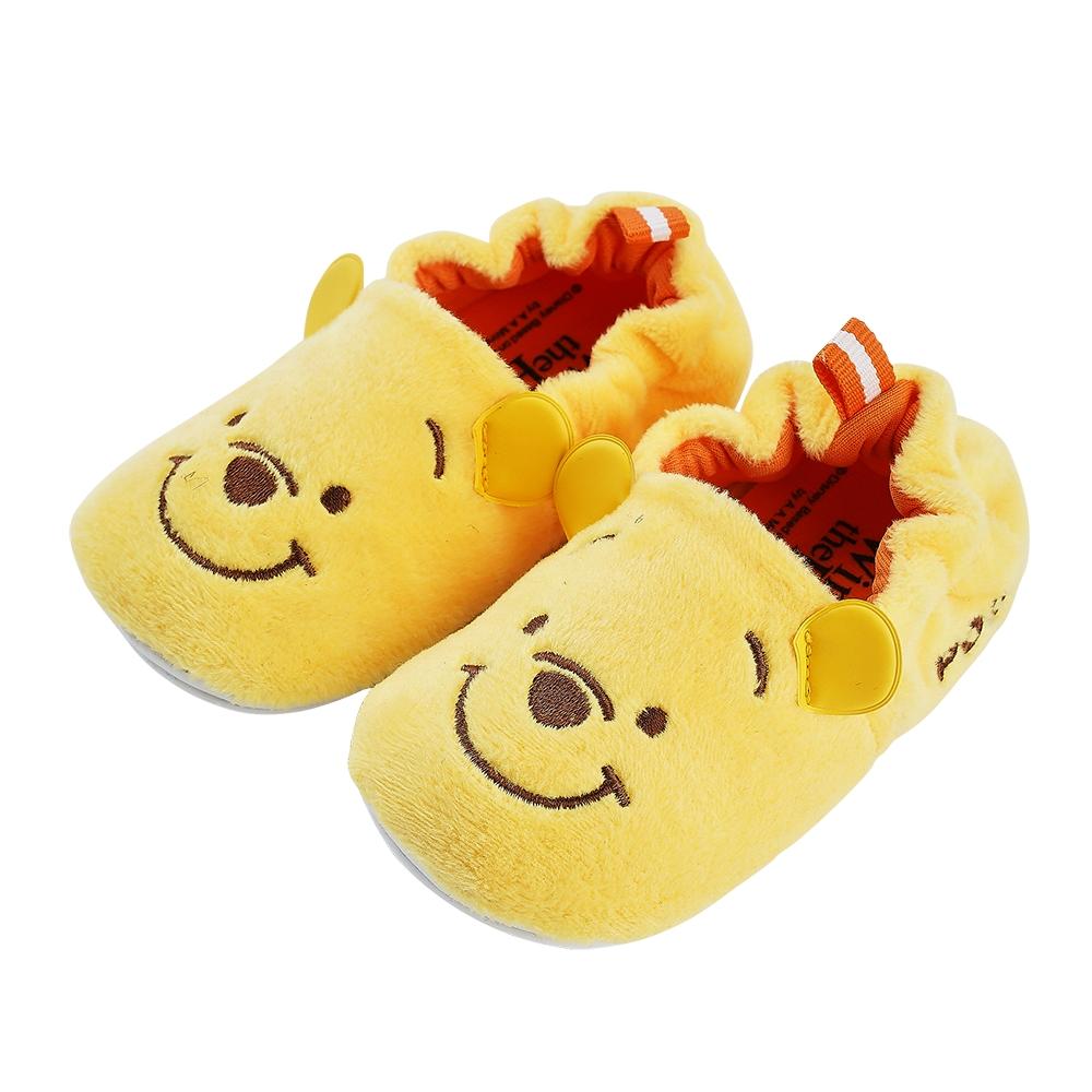 迪士尼童鞋 小熊維尼 柔毛電繡寶寶學步鞋-黃