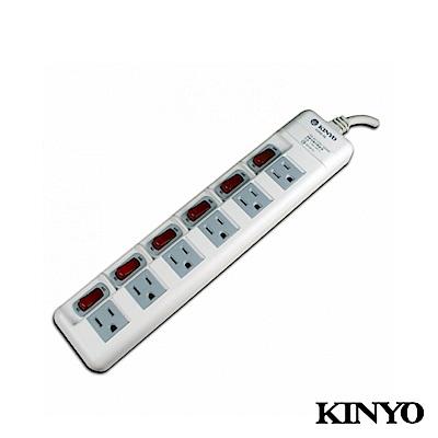 KINYO 六開六插防塵安全延長線1.8M(KS6606)