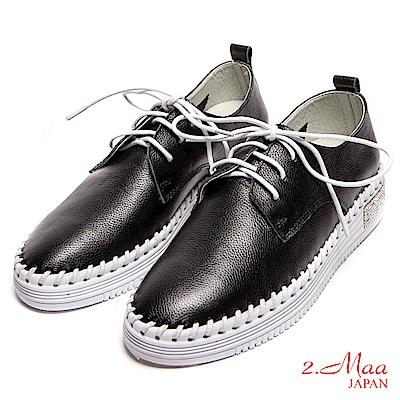 2.Maa-全真皮-率性綁帶穿線後跟水鑽樂福鞋-黑