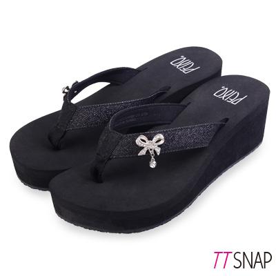TTSNAP拖鞋-MIT修長顯瘦蝴蝶夾腳中跟涼拖 黑