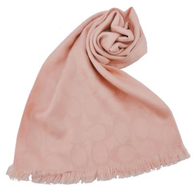 COACH 經典滿版LOGO羊毛混絲針織披肩圍巾(玫瑰粉)(展示品)