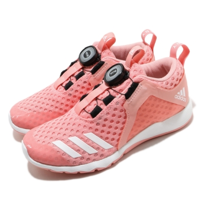 adidas 運動鞋 RapidaFlex BOA 女鞋 愛迪達 三線 旋鈕式鞋帶收放 中大童 粉 白 FW6143