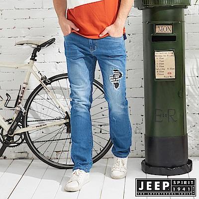 JEEP 時尚百搭刷色牛仔長褲