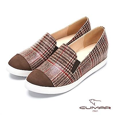 CUMAR率性柔美-異材質拼接復古格紋內增高休閒鞋