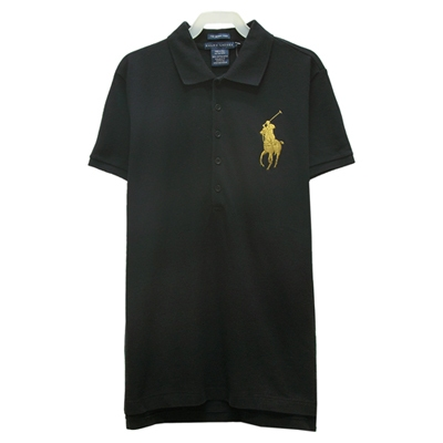 Ralph Lauren THE SKINNY POLO大馬刺繡短袖POLO衫-黑色(L)